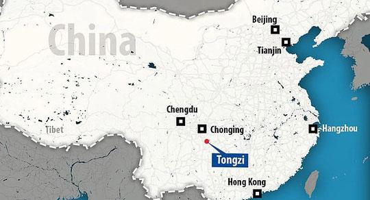 Vị trí tìm thấy dấu tích loài người lạ ở Trung Quốc - ảnh: DAILY MAIL