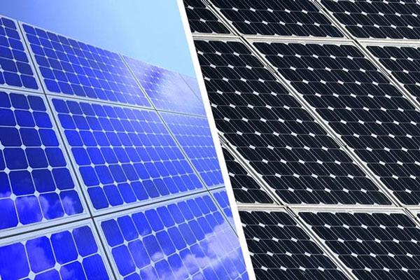 Tấm pin năng lượng mặt trời xanh và đen