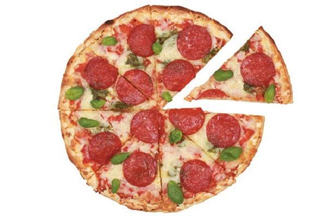 Một bánh pizza đường kính 43cm lớn hơn hai chiếc pizza 30cm