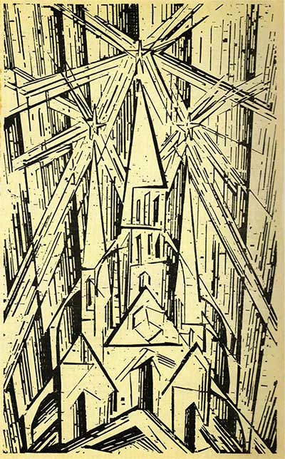 Tác phẩm khắc gỗ Kathedrale của Lyonel Feininger.