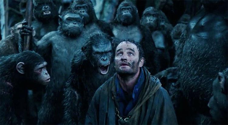 """Bộ phim """"Hành tinh vượn"""" với nội dung về sự siêu việt trong bộ óc của loài linh trưởng sau khi cấy ghép gene."""