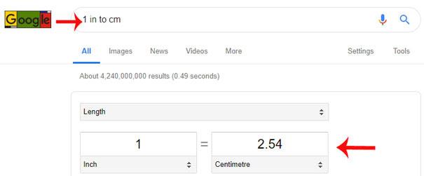 Chuyển đổi đơn vị đo trên Google