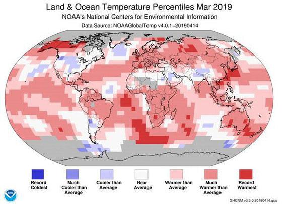 Bản đồ nhiệt độ thế giới tháng 3/2019, màu đỏ là ấm hơn bình thường