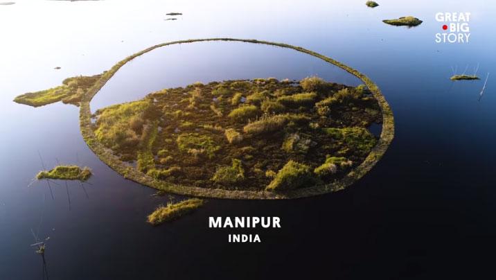 Công viên nổi tiếng với những mảnh đất trũng và các vòng sinh khối nổi trên mặt nước.