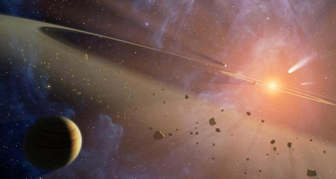 Hệ Mặt Trời chứa đầy vật chất tàn dư còn sót lại từ sự hình thành của các hành tinh. Ảnh minh họa