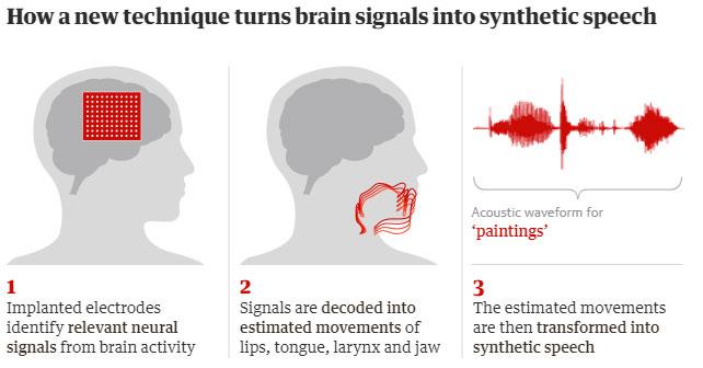 Các bước chuyển đổi tín hiệu não thành lời nói tổng hợp.