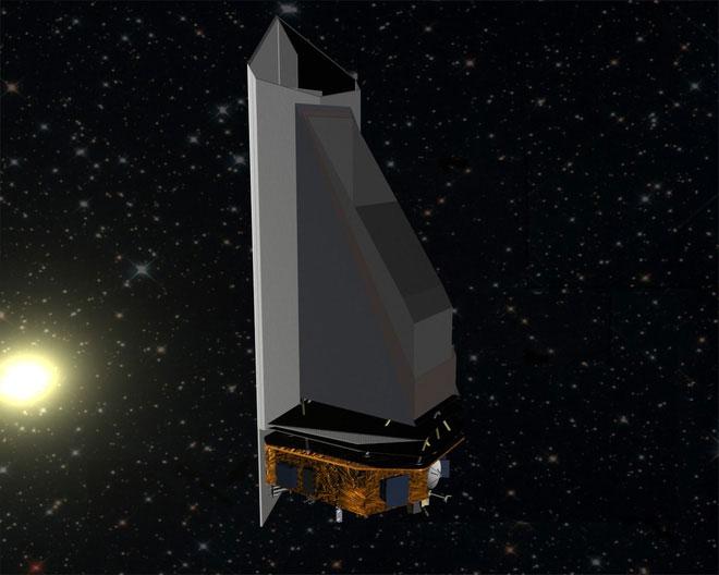 Ảnh phác họa NEOCam đang bay trong Vũ trụ.