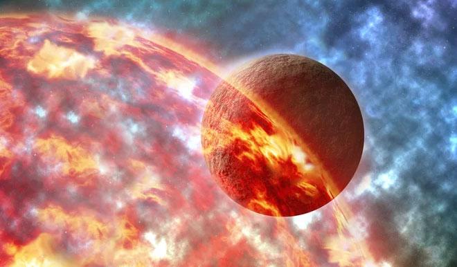 Ảnh minh họa về khoảnh khắc hành tinh giả thuyết kích cỡ sao Hỏa va chạm và bị Trái đất cổ đại đầy mắc ma nuốt trọn - (Ảnh: SHUTTERSTOCK).