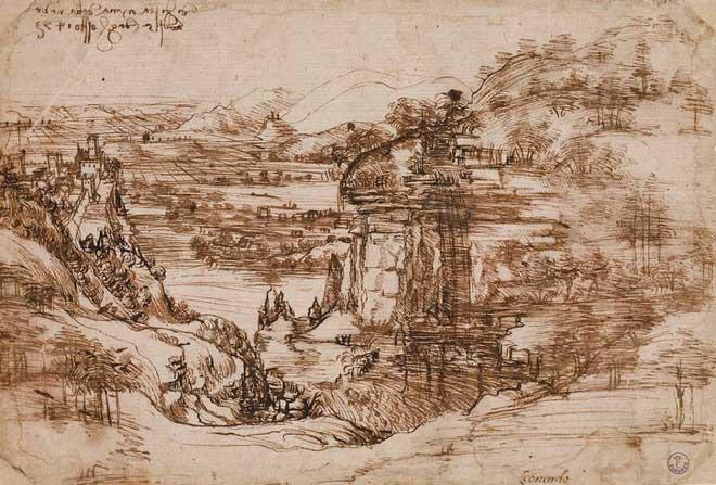 Bức vẽ phong cảnh Santa Maria della Neve của Da Vinci.
