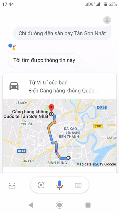 Cách hỏi đường Google Assistant đến sân bay