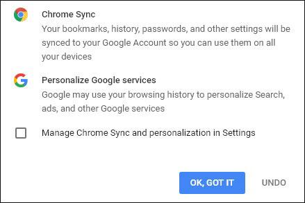 """Hãy tích vào hộpManage Chrome Sync and personalization in Settings trước khi nhấp chọn """"OK, got it""""."""
