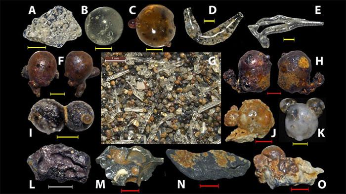 Một số hình dạng các giọt thủy tinh mà ông Mario Wannier thu thập được