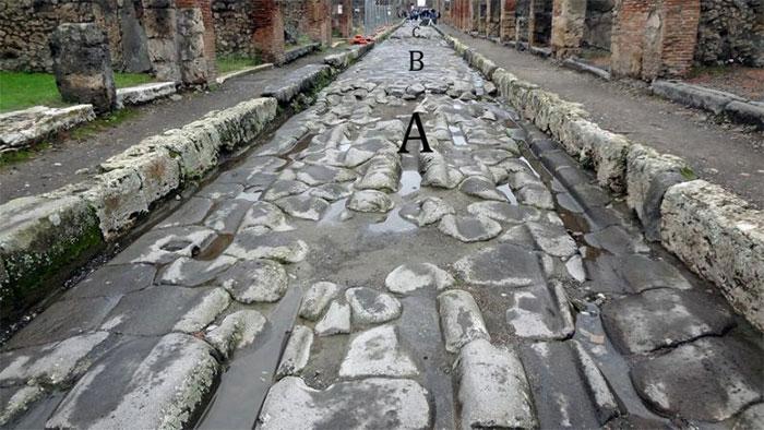 Bức ảnh chụp một con đường ở Pompeii