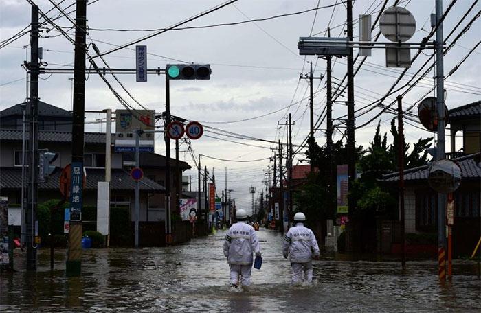 Một khu vực ở Oyama, Tochigi, bắc Tokyo trong một đợt ngập