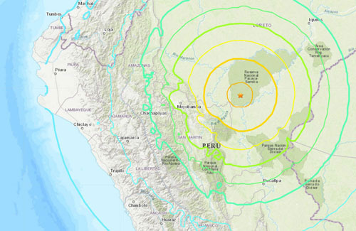 Tâm chấn của trận động đất ở Peru.
