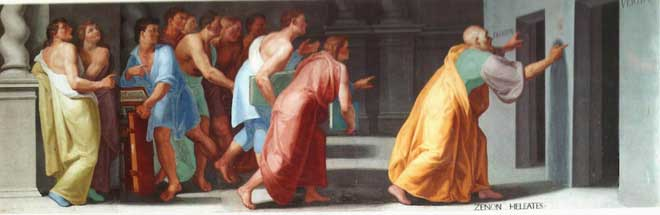 Zeno xứ Elea chỉ cho Giới trẻ cánh cửa dẫn tới Sự thật và Sai trái, bức họa vẽ bởi Pellegrino Tibaldi.