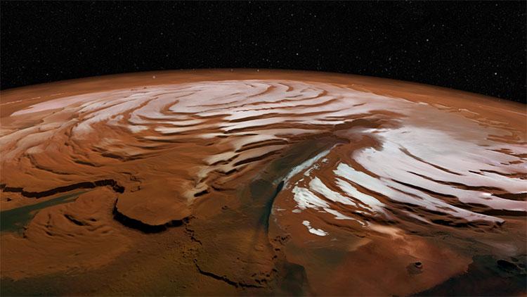 Một nghiên cứu mang tính bước ngoặt của NASA khi đã phát hiện ra một khối băng khổng lồ trên sao Hỏa.