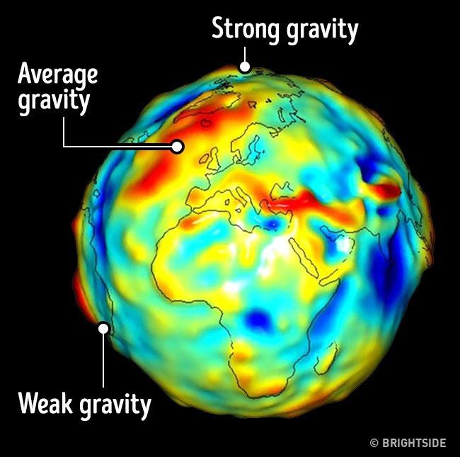 Trái Đất không phải một khối cầu hoàn hảo nên có những khu vực có trọng lực cao và trọng lực thấp.
