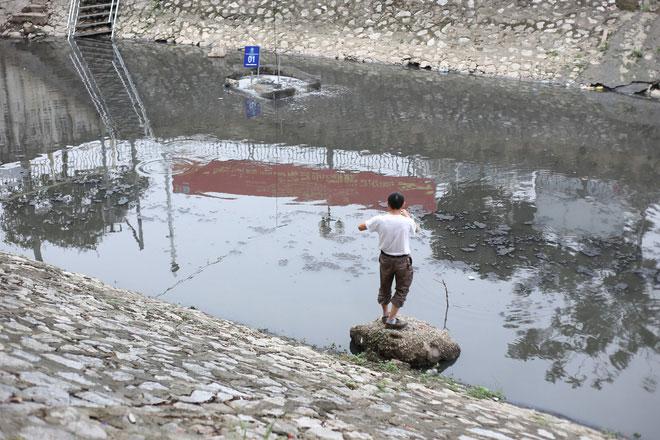 Cũng trong chiều 28/5, một số người dân thong thả quăng lưới câu cá ngay tại sông Tô Lịch.