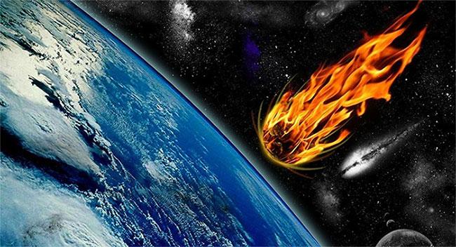 Phác họa cảnh thiên thạch bốc cháy ngùn ngụt khi lao xuống Trái đất.