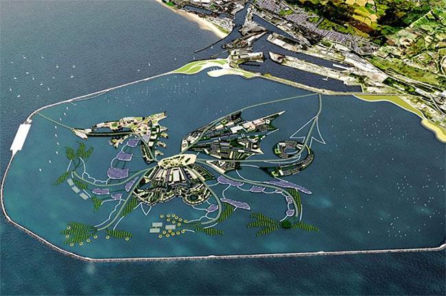 Hòn đảo mô phỏng hình dáng con rồng trên lá cờ của Wales.