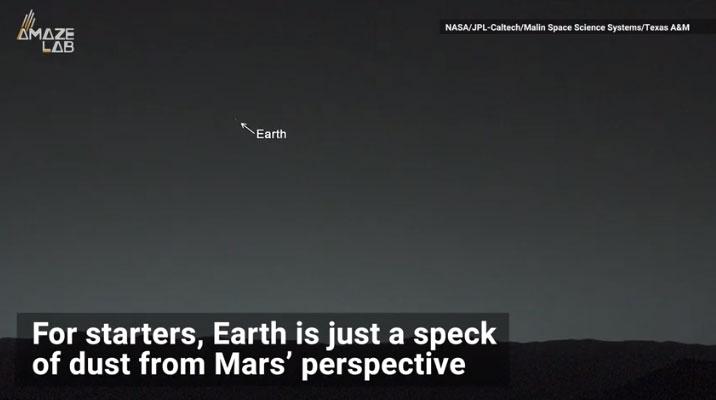 Nhìn từ sao Hỏa, Trái đất chỉ như một hạt bụi nhỏ