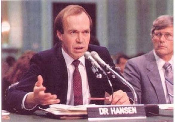 James Hansen cảnh báo về biến đổi khí hậu tại Nghị viện Mỹ vào năm 1988.