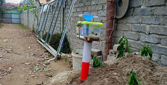 Cột cảnh báo thử nghiệm lắp tại đoạn đường thường xảy ra ngập nước.