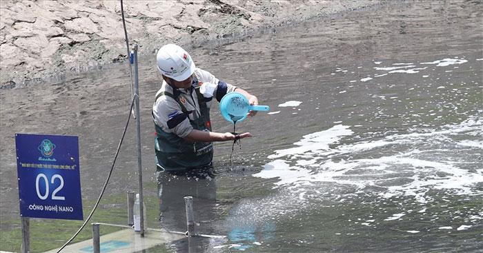 Khu vực lắp đặt thí điểm máy Nano trên sông Tô Lịch