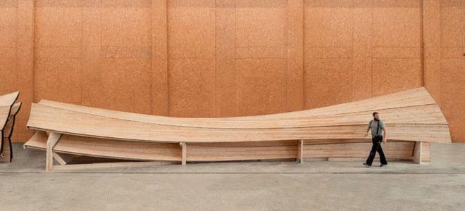 Một bộ phận của tòa tháp bằng gỗ.