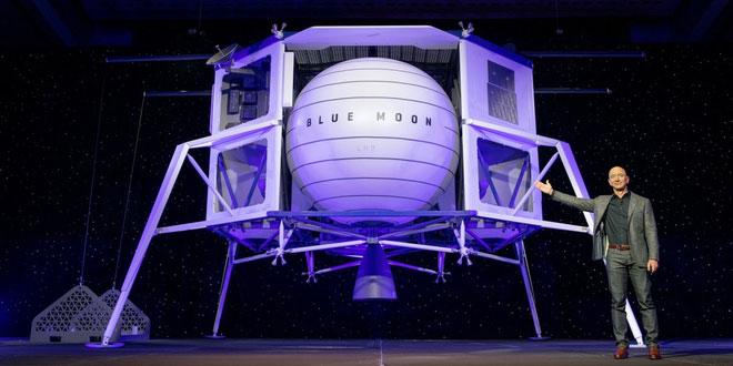 Jeff Bezos giới thiệu thiết bị có khả năng hạ cánh lên Mặt Trăng mang tên Blue Moon.