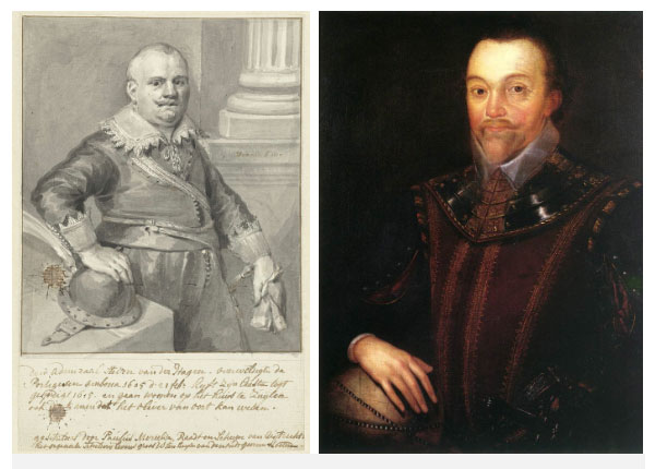 2 nhà thám hiểm phương Tây: Bên phải làFrancis Drake, trái làOlivier van Noort