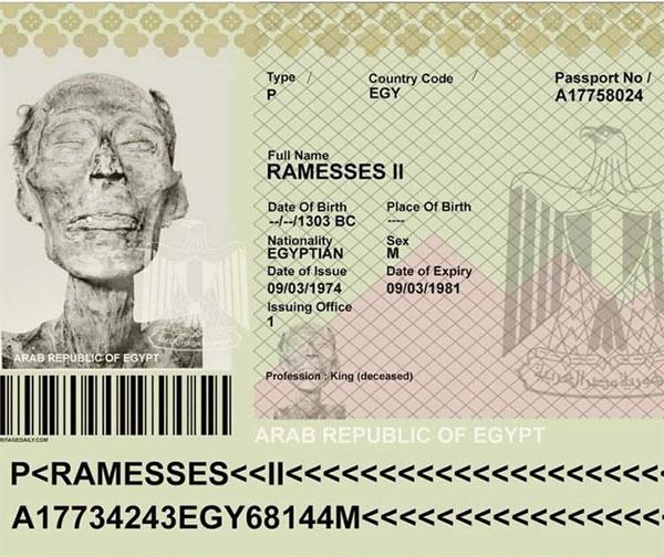 Hộ chiếu Ai Cập của xác ước Pharaoh Ramesses II.