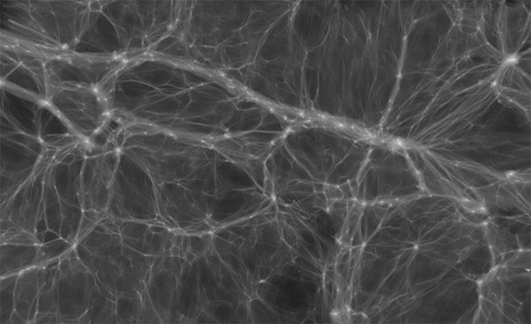 Những luồng vật chất tối đôi khi tách các thiên hà ra xa và gom chúng thành các cụm như trong mô phỏng này.