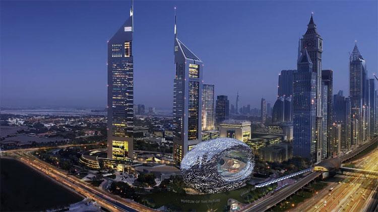 Phối cảnh bảo tàng cạnh tổ hợp Tháp Emirates.