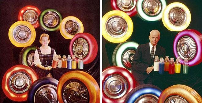 Lốp xe nhiều màu sắc từng được sản xuất vào những năm 1950.