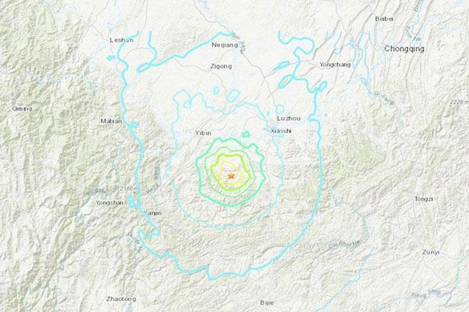 Vị trí tâm chấn trong trận động đất tại tỉnh Tứ Xuyên, Trung Quốc, tối 17/6.