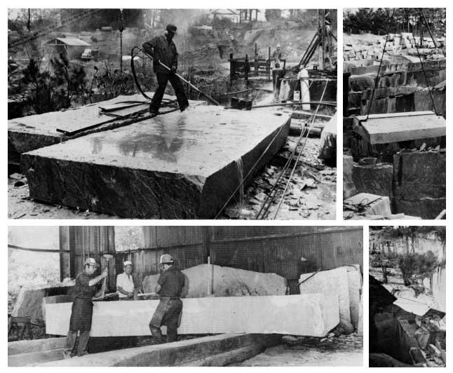 Quá trình thi công trên tấm đá granite khổng lồ