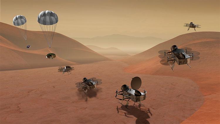 Dragonfly sẽ khám phá nhiều địa điểm trên mặt trăng Titan. (Ảnh: NASA).