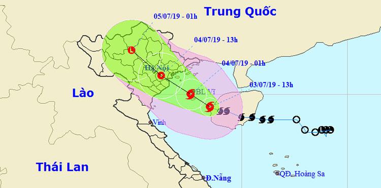 Vị trí và hướng di chuyển của bão số 2