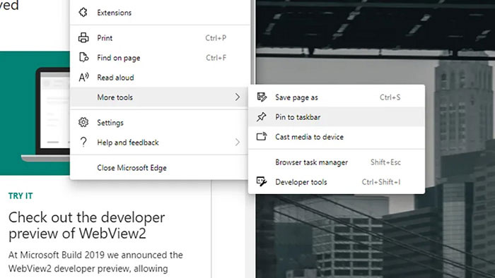 Lưu trang web vào thanh công cụ (dock) hoặc thanh tác vụ (taskbar)