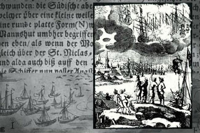 Bản in khắc năm 1680 kèm theo hình minh họa của Erasmus Francisci về một trận chiến giữa các con tàu trên bầu trời diễn ra trong năm 1665.