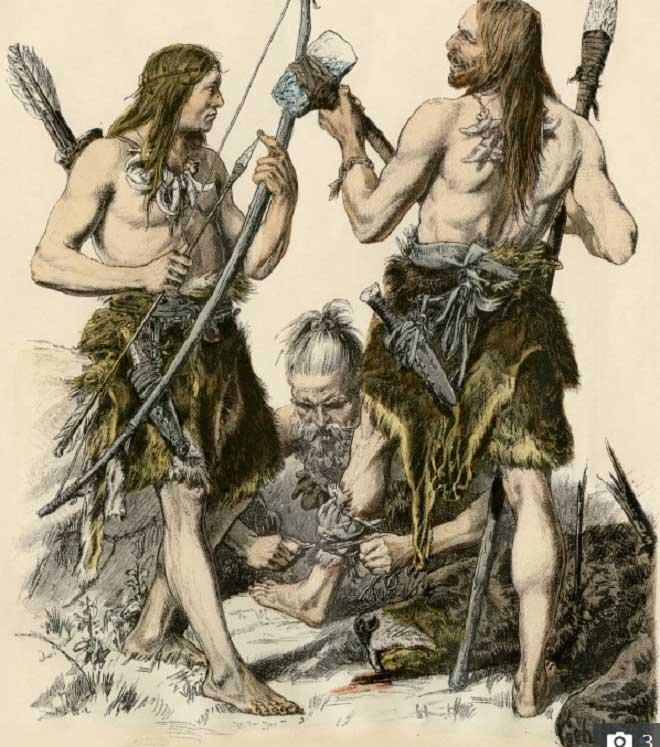 Con người thời đồ đá đã biết giết hại nhau bằng các vật cứng.