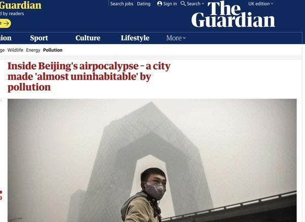 The Guardian đưa tin về tình trạng ô nhiễm đáng báo động tại Bắc Kinh.