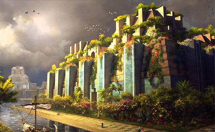 Hình vẽ mô phỏng vườn treo Babylon.