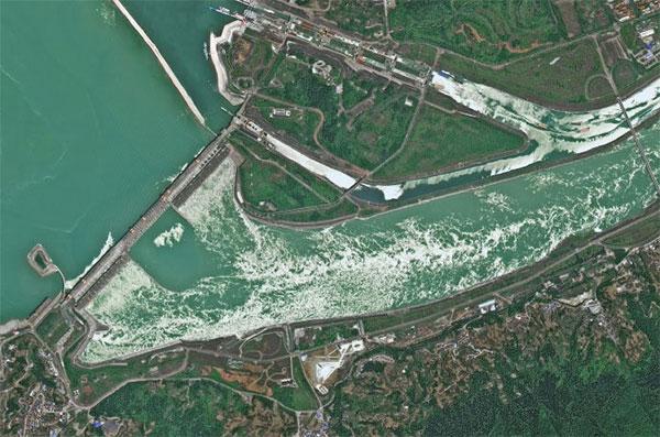 Ảnh do vệ tinh Gaofen-6 chụp cho thấy con đập vẫn bình thường
