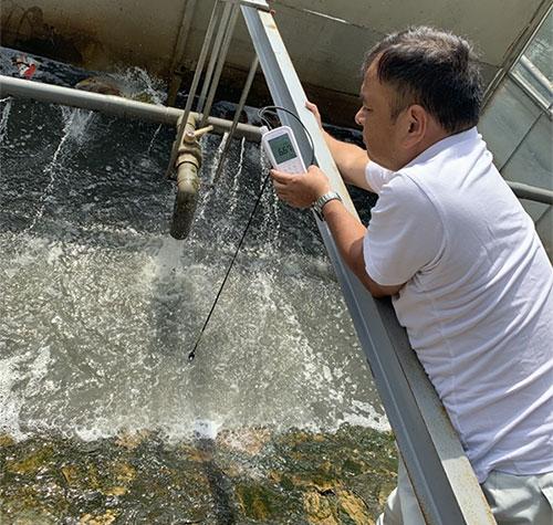 TS Kubo Jun, chuyên gia Nhật Bản đo hàm lượng oxy hòa tan.