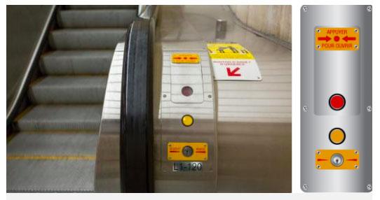 """Vị trí nút """"Dừng khẩn cấp"""" của thang cuốn."""