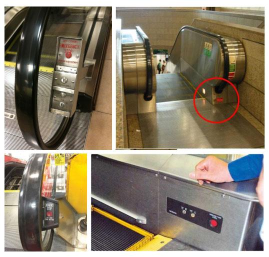 """Nút """"Dừng khẩn cấp"""" được đặt vị trí ở đầu hoặc cuối thang cuốn, ở bên phải tay vịn."""