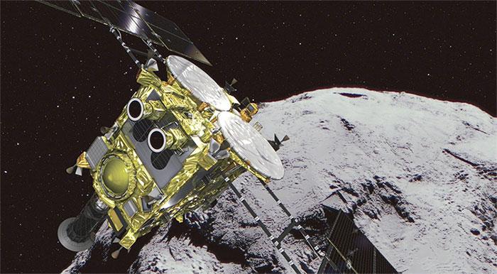 Tàu không gian Hayabusa-2 đáp xuống bề mặt tiểu hành tinh Ryugu. (Ảnh: Sp)